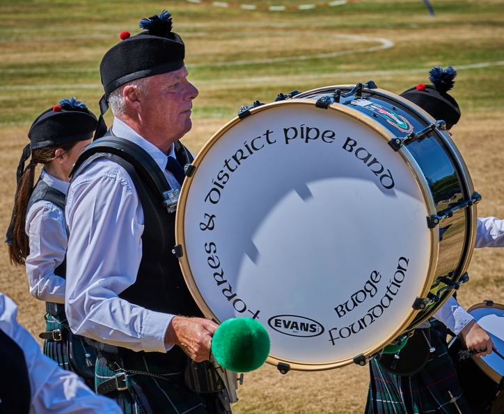 Forres & District Pipe Band bass drummer