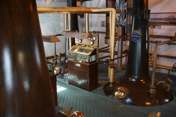 The spirit safes among the distilling vessels